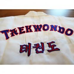 Dobok de TaeKwonDo kid col blanc gaufré brodé TaeKwonDo