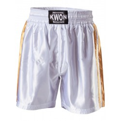 Short de boxe blanc et or, Kwon
